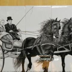 2 Friese paarden voor sjees op Friese Keukentegels