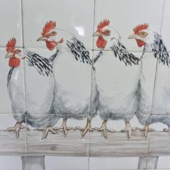 tegels, witte kippen op stok